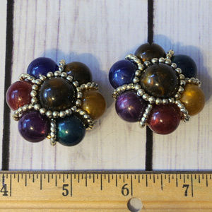 vintage large colorful flower earrings oversize